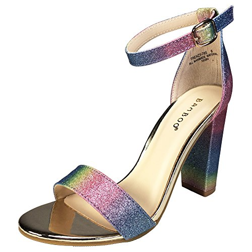 - BAMBOO Women's Single Band Chunky Heel Sandal with Ankle Strap, Rainbow Glitter, 6.5 B US