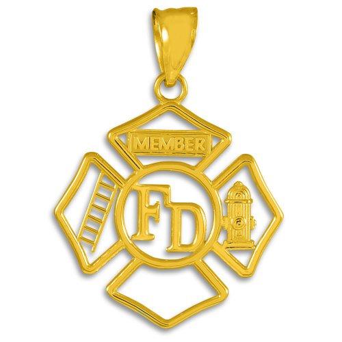 American Heroes 10k Gold FD Open Badge Firefighter Pendant - Firefighter Badge Pendant