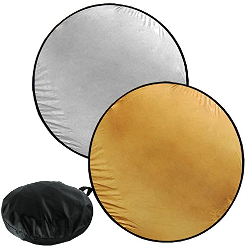 GHP Photo Studio Kit Silver/Gold Durable Multi Light Collapsible Disc Reflector by Globe House Products