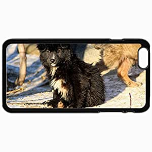 Personalized Protective Hardshell Back Hardcover For iPhone 6 Plus, Dog Puppy Snow Winter Look Homeless Dog Design In Black Case Color