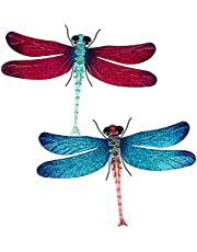 Maansfy Metal Dragonfly Wall Decors Outdoor Garden Art Hanging Glass Decoration for Patio