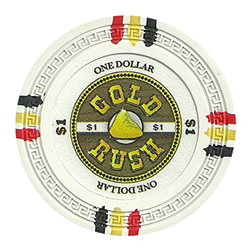 (Claysmith Gaming Gold Rush Poker Chip Heavyweight 13.5-gram Clay Composite - Pack of 50 ($1 White) )