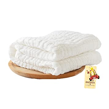BWINKA Super suave 6 capas de algodón de algodón Muselina bebé toallas de baño blanco también para manta de bebé (105x105cm): Amazon.es: Bebé