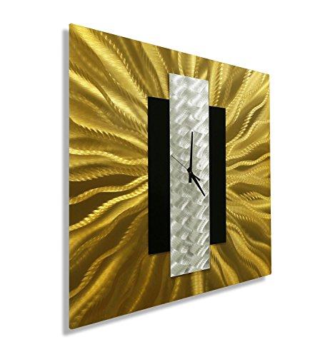 (Statements2000 Beautiful Gold, Silver, Black Abstract Metal Wall Clock - Handmade Functional Wall Art - Modern Timekeeper - Gold Rush by Jon Allen)