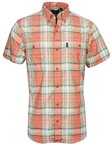 G.H. Bass & Co. Men's Desert Mountain Fancy Short Sleeve Plaid Shirt, Orange Rust Heather, Large