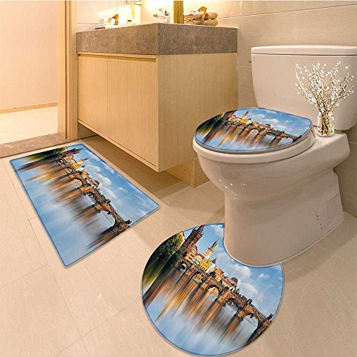 3 Piece Toilet Cover setWanderlust Collection Cityscape of Bruges Streets Belgium Architecture Cobblestone To Extra Soft Memory Foam Combo - Rug, Contour Mat and Lid Cover Collection Cobblestone Three Light Fixture