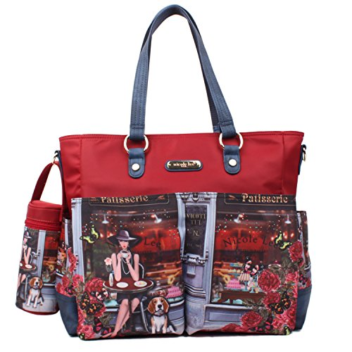 baby-diaper-tote-bag-multi-function-in-red-colorful-print-spacious-for-daily-use