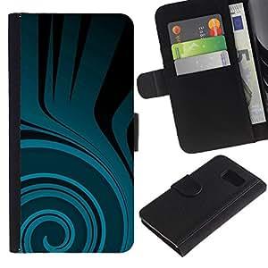 Samsung Galaxy S6 / SM-G920 Modelo colorido cuero carpeta tirón caso cubierta piel Holster Funda protección - Teal Flow Black Dark Pattern