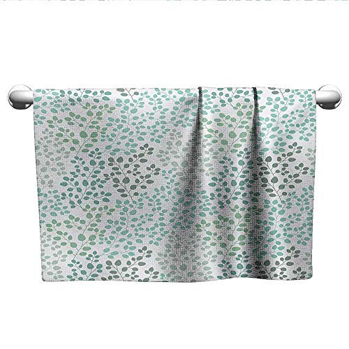 - alisoso Leaf,Towels GirlsPattern with Leaf Branches Silhouette Nature Theme Foliage Forest Gym Towels for Women Sage Green Turquoise White W 10