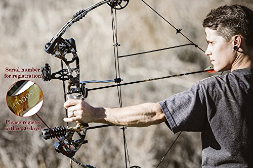 RAPTOR Compound Hunting Bow Kit: LIMBS MADE IN USA | Fully adjustable 24.5-31 Draw 30-70 LB pull | Up to 315 FPS | WARRANTY & 100% 30 day GUARANTEE |5 Pin Lighted Sight, Biscuit Rest | BLACK RH