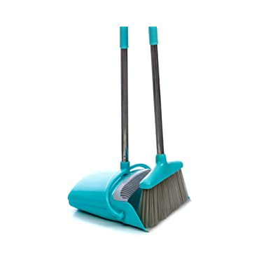 Broom and Dustpan Set | Long 54  Handle Upright Dustpan with Clean Broom Combo| Best For Home, Kitchen, Lobby and Office | Extendable Premium Dust Cleaner/Sweeper | Easy to Store Away and Hang