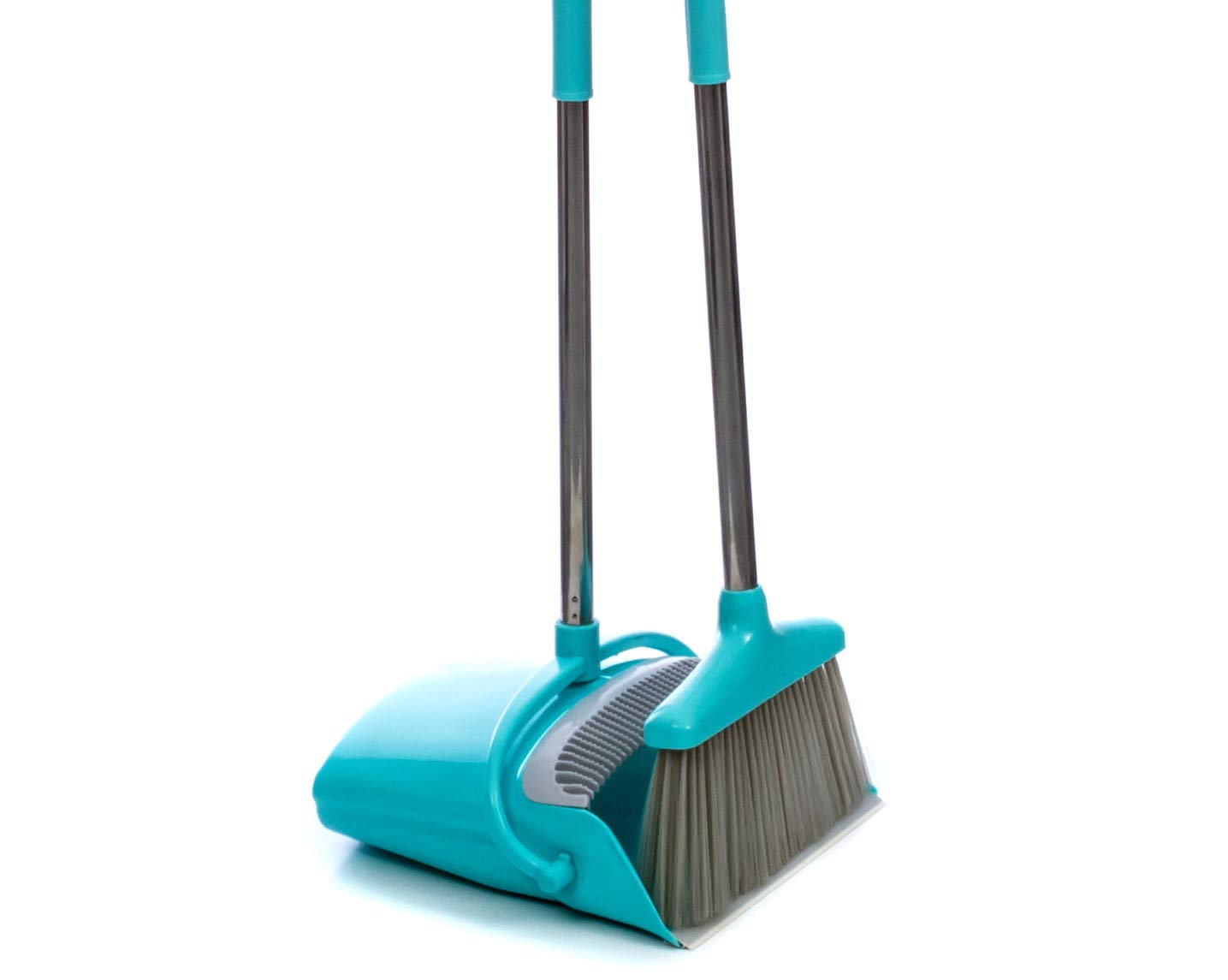 Broom and Dustpan Set | Long 54'' Handle Upright Dustpan with Clean Broom Combo| Best For Home, Kitchen, Lobby and Office | Extendable Premium Dust Cleaner/Sweeper | Easy to Store Away and Hang