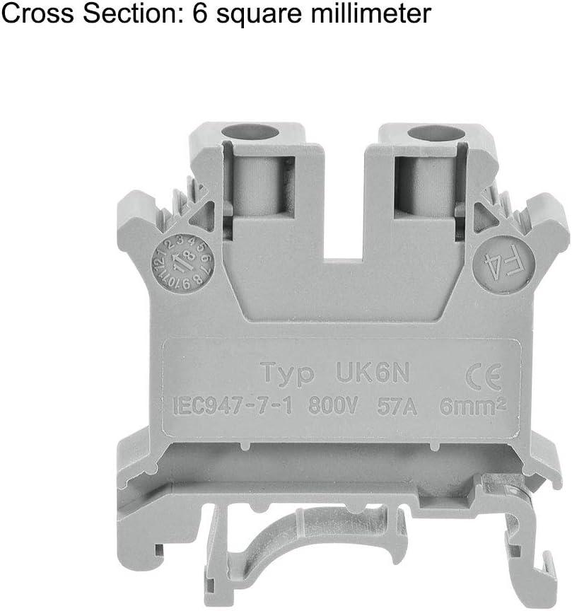 sourcing map DIN Rail Bornier UK6N 800V 57A Vis Type Connecteur 6mm2 Gris 3Pcs