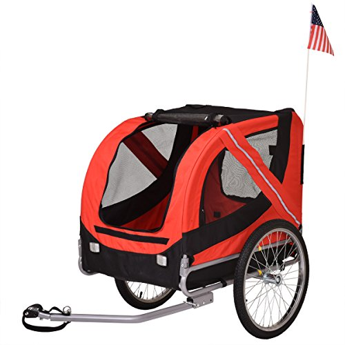 LAZYMOON 2 in 1 Pet Bicycle Trailer Stroller Jogger Dog Carrier, Red
