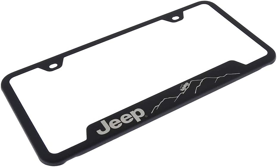 Jeep Mountain Laser Etched Rugged Black License Plate Frame Official Licensed Au-Tomotive Gold Inc