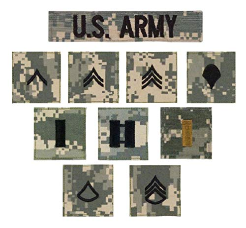 (1pc Acu Digital Camo Military Us Army Rank Hook Back Rip Stop Uniform Insignia Patch )