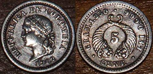 1902 Bogota Colombia coin 1902 Silver 5 Centavos 5 centavos Seller Extra Fine+ 20 Centavos Silver Coin