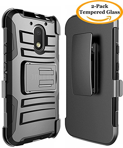 Moto G4 Play Case, Moto G Play Case 4th Generation, JATEM Hybrid Case Kickstand Belt Clip + 2 Tempered Glass Screen Protectors and Stylus Pen (Kickstand Case Screen Protector)