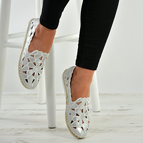 Cucu Fashion New Womens Ladies Floral Cut Slip On Flats Ballerina Espadrille Shoes Sizes UK Silver t3xvPeeK