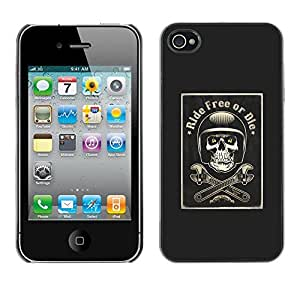 Planetar® ( Ride Free Or Die Motorcycle Black ) iPhone 4 / 4S Fundas Cover Cubre Hard Case Cover