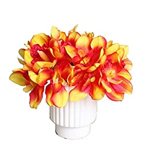 12 PCS High Quaulity Latex Real Touch Cymbidium Orchid Artificial Flower Bouquet for Wedding Holiday Bridal Bouquet Home Party Decor bridesmaid (Orange) 50