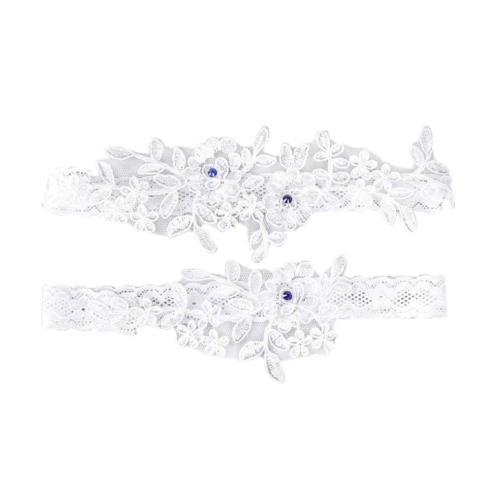 Cinturones anillo y pata de encaje novia de la boda 2pcs Set de liga muchachas de las mujeres el/ástico arco floral Ligas de pierna