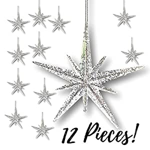 "Christmas Moravian Star Ornaments - Set Of 12 Stars - 4 1/2"" H Clear Acrylic With Silver Glitter - Hanging Christmas Decorations"