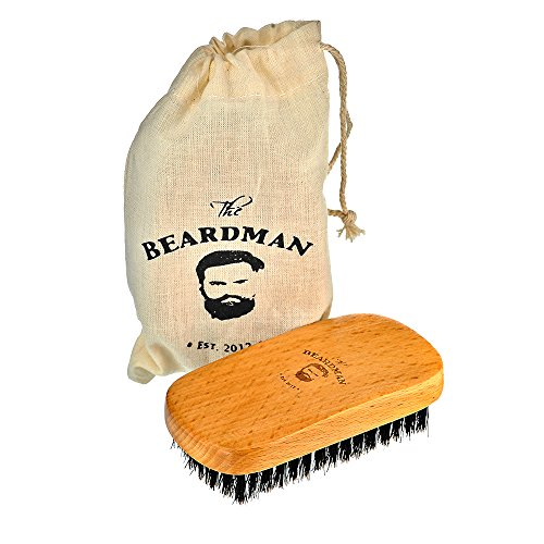 The Beardman Beard & Hair Brush, Bamboo Beachwood with Soft Boar Bristles with Muslin Style Cotton Gift Bag, Best Gift For Your Man (Soft)