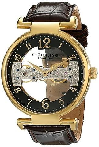 Stuhrling Original Men's 667.03 Legacy Mechanical Hand Wind Brown Genuine Leather Strap Watch (Brown Leather Geneva Watch)