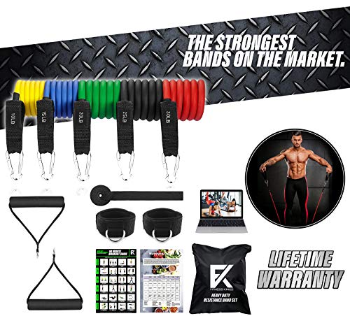 Fitness Kings Heavy Duty Resistance Bands Set 11Pc Anti SNAP Stackable Bands for Arms & Legs + Thick Ankle Strap Home Gym Set w/Workout Program + Videos