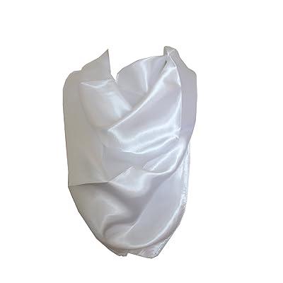 élégant couleurs solides écharpe en satin de soie cou bandana tête carrée wrap (Blanc)