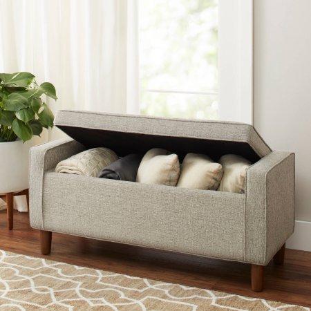 Flynn Mid Century Modern Upholstered Storage Bench - Gray, Ash
