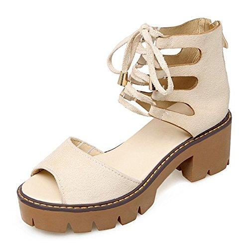 Tobillo Hueco Mujer Beige Toe Cordones FANIMILA Cremallera Comodo con Ancho Tacon Zapatos Peep Medio Moda al vq4Pwg4xd