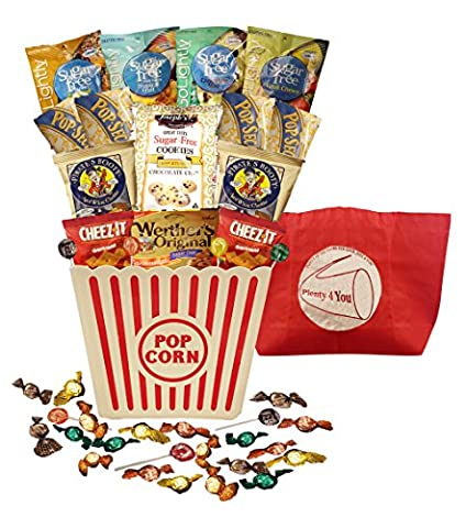 Plenty 4 You Ultimate Sugar Free, Guilt Free, Movie Night Gift Bucket - Diabetic Sugar Free Candy