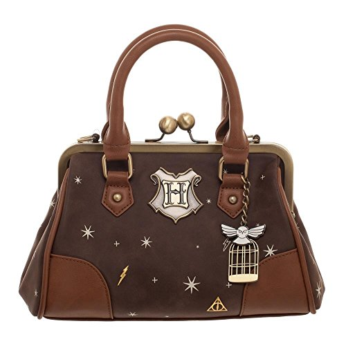 Bioworld Harry Potter Celestial Kiss Lock Handbag, Brown and Gold ()