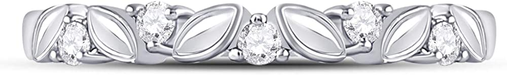 The Diamond Deal 14kt White Gold Womens Round Diamond Floral Band Ring 1//10 Cttw