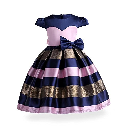 Dress Ruffle Blue Girls (ZaH Girl Dress Kids Ruffles Lace Party Wedding Bridesmaid Dresses(Pink&Blue,2-3Y))