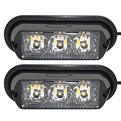linchview 2 x anteriore lampeggiamenti LED 12 V/24 V auto spie Arancione flash light stand con funzione di memoria per Cargo Truck Luci Stroboscopiche Con 16 Flash Pattern