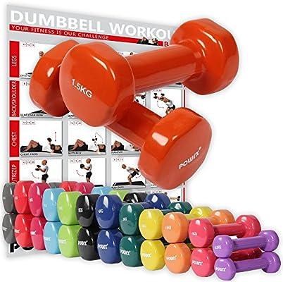 POWRX - Mancuernas Vinilo 1 kg Set (2 x 0,5 kg) + PDF Workout ...