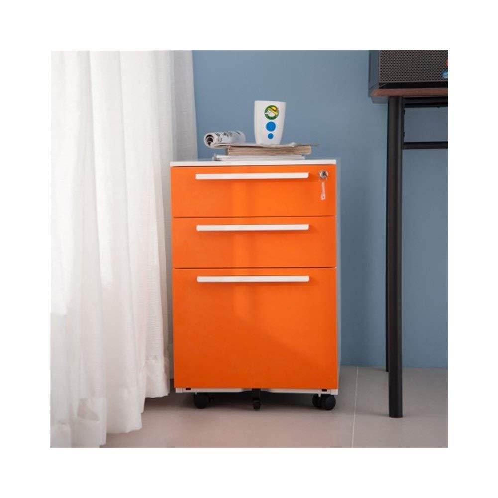 MUZIWENJU Mobile File Cabinet - Metal Solid Storage Stability File Cabinet with Keys (Orange) (Color : Orange-White)