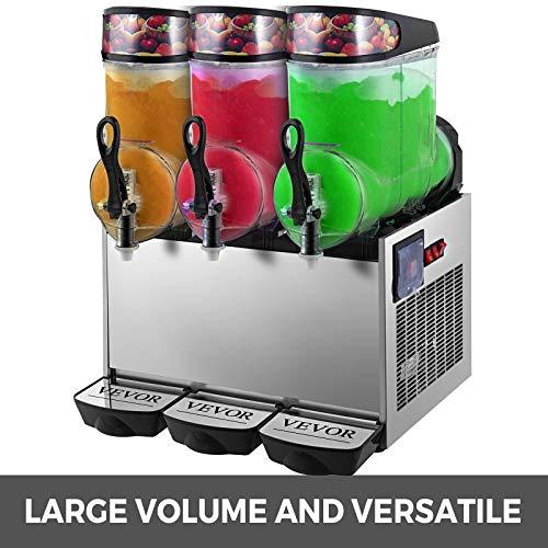 VEVOR 110V Slushy Machine 12L*3 Triple-Bowl Slush Frozen Drink Machine 900W Frozen Drink Maker Ice Slushies for Supermarkets Cafes Restaurants Snack Bars Commercial Use by VEVOR (Image #2)