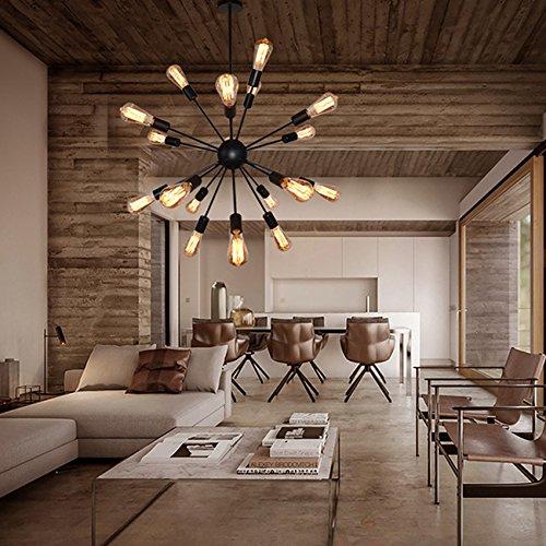 Vintage Metal 20 Lights Chandelier, Sputnik Painted Black Pendant Light, Retro Incandescent LED Edison Bulb Lighting for Living Room