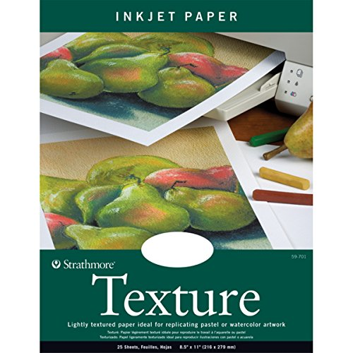 - Strathmore 80-Pound 25-Sheets Inkjet Paper Texture, 8.5 x 11 Inches (412111