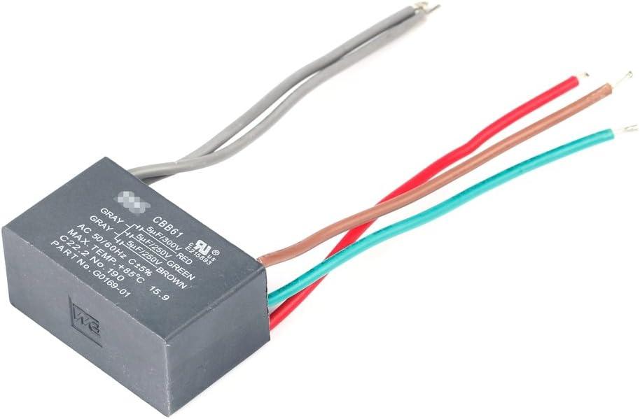 2 Wire Ceiling Fan Capacitor CBB61 5uf 250V AC 50//60 Hz Power Relay  LQ