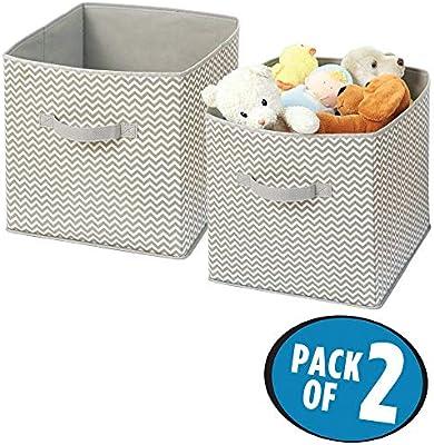 mDesign Organizador de Tela – 2 Cajas para organizar Juguetes– Ideal Caja de Tela para organizar Juguetes, Ropa o Mantas y Mantener la organización de su hogar – Color: Topo/Natural: Amazon.es: Hogar