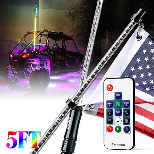 Xprite 5ft (1.5M) RGB Dancing LED Whip Light with Remote Control Flag Pole Safety Antenna with Multi-Color Chasing Light for Offroad Jeep, Buggy Dunes, ATV, UTV, Polaris RZR, Trophy Trucks, SXS