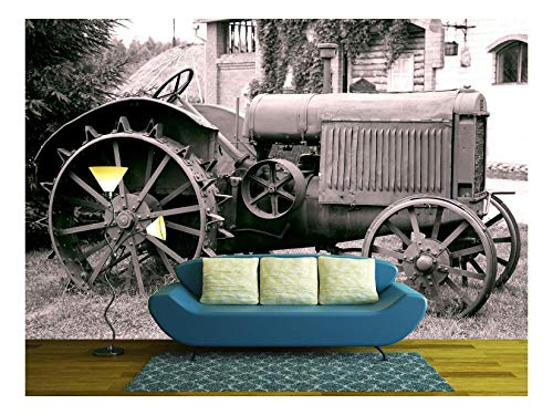 wall26 - Old Tractor with Iron Wheels is Thrown on a Roadside - Removable Wall Mural | Self-Adhesive Large Wallpaper - 66x96 inches