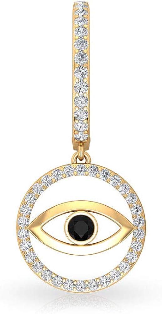 Pendientes de aro de 0,31 ct Pave IGI con certificado de diamante Evil Eye Drop, solitario antiguo negro con clip de diamante, para mujer, cumpleaños, aniversarios, regalos, con clip.