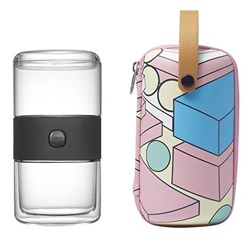 ZENS Lightweight Portable Glass Travel Tea Set, Glass Teapot with PC Lid, Stainless Steel Infuser, Double Wall Cup, Pink Geometric Pattern EVA Tote Bag for Indoor & Outdoor Picnic, Perfect Gift Idea