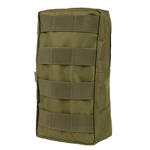 MOLLE Pouches - Compact Water-resistant Multi-purpose Tactical EDC Utility Gadget Gear Hanging waist Bags(Vertical Rectangle Pouch ,Green - Flush Floral Gold